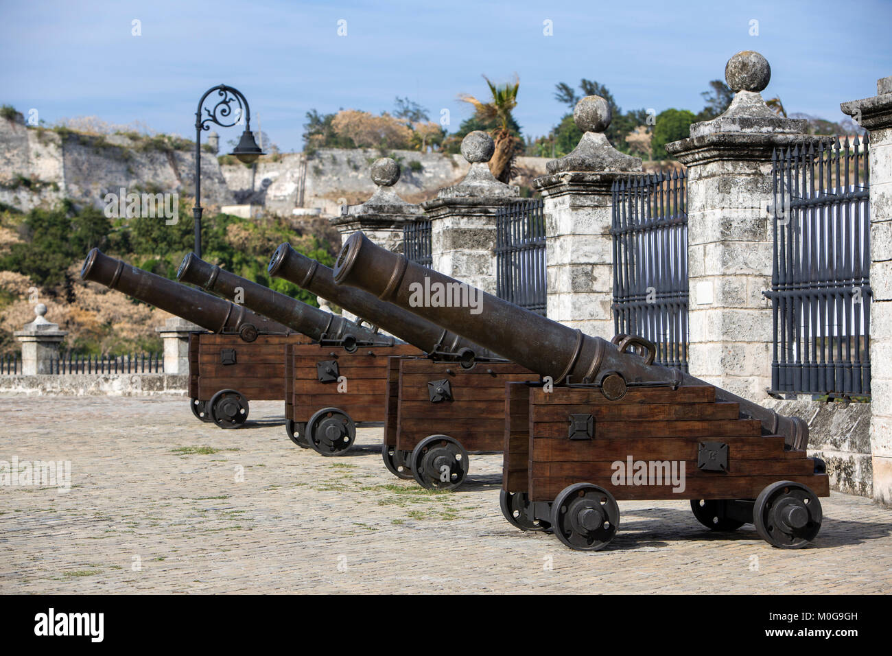 Cannons at the Castle of the Royal Force in Havana, Cuba Stock Photo