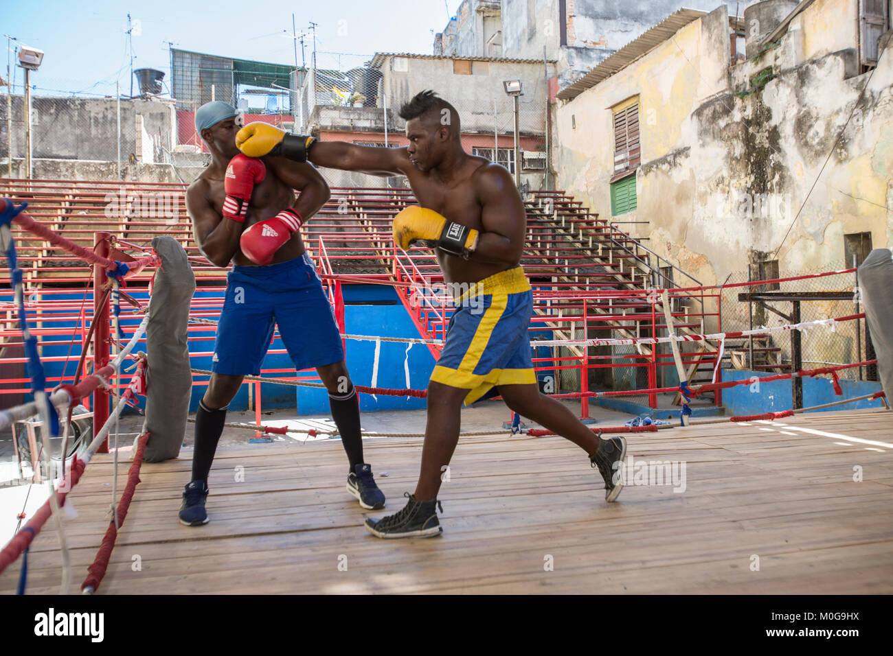 Boxers training at  Rafael Trejo Boxing Gym in Havana, Cuba - Stock Image