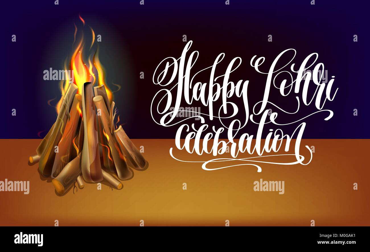 happy lohri hand lettering celebration design with realistic burning bonfire with wood to indian winter holiday, - Stock Vector