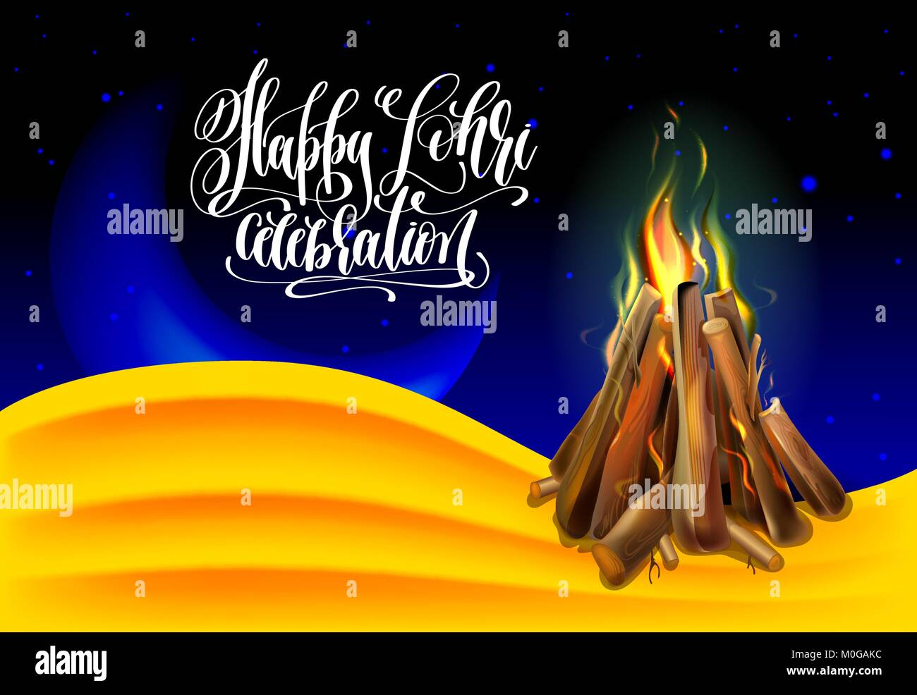 Happy Lohri celebration greeting card to indian winter holiday with hand lettering text and realistic burning bonfire - Stock Vector