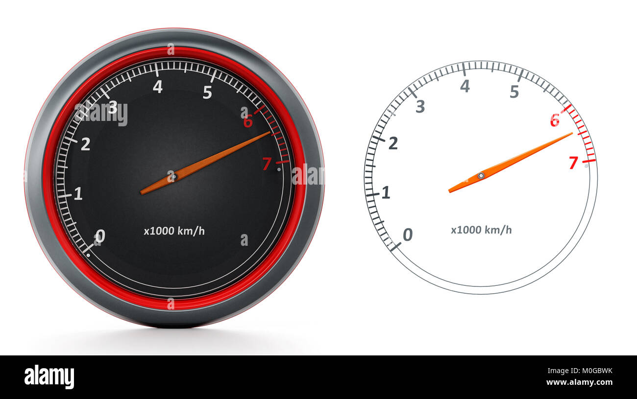 RPM meters isolated on white background. 3D illustration - Stock Image