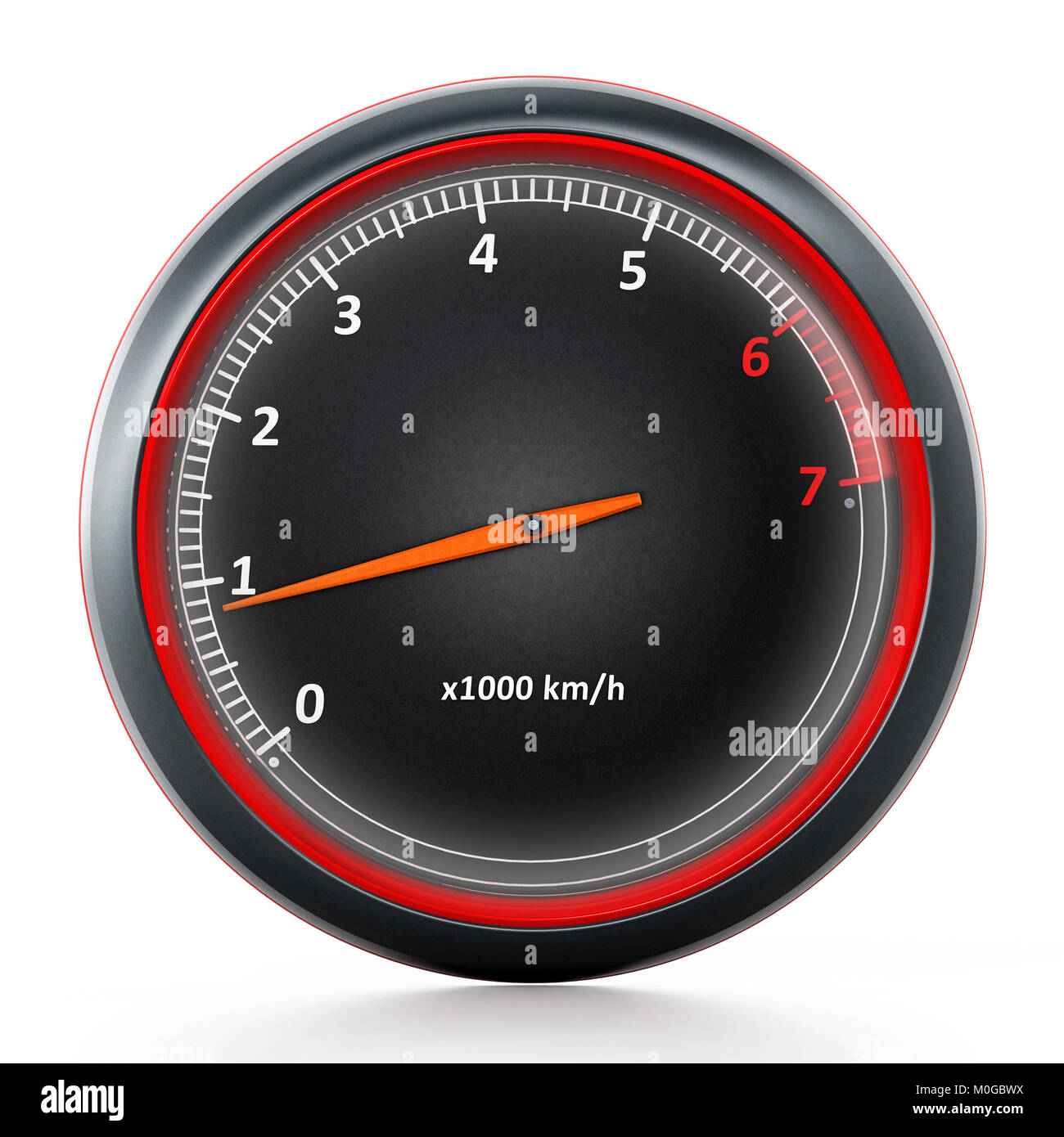 RPM meter isolated on white background. 3D illustration - Stock Image