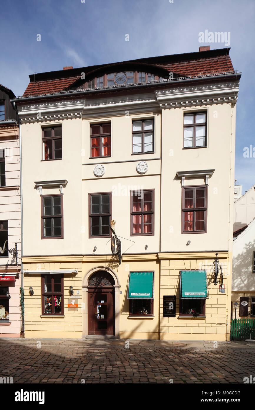 DEU, Germany, Berlin: historical House Facade in Berliner Nikolaiviertel  I DEU, Deutschland, Berlin: Berliner Nikolaiviertel - Stock Image