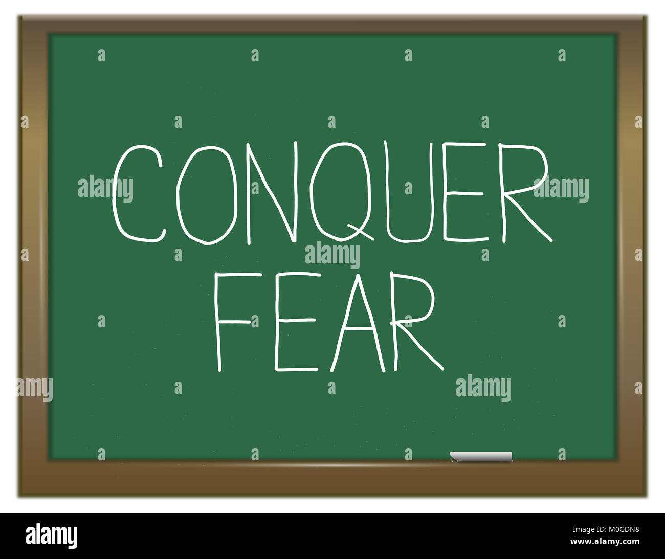 3d Illustration depicting a green chalkboard with a conquer fear concept. - Stock Image