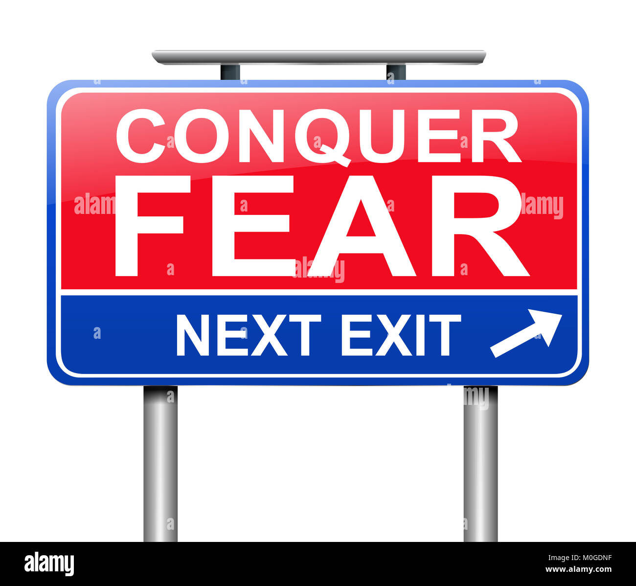 3d Illustration depicting a sign with a conquer fear concept. - Stock Image