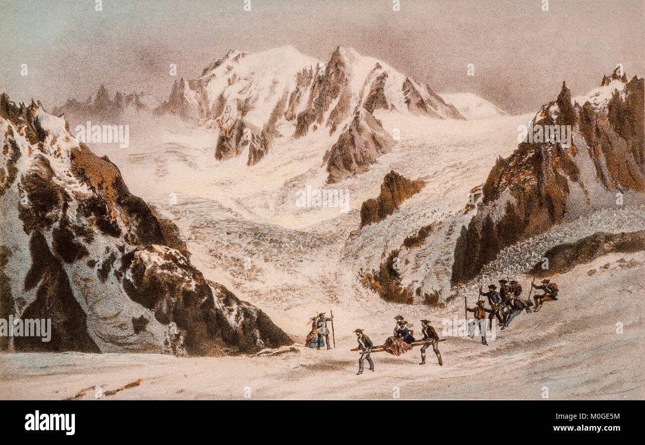 Mont Blanc - 'Chamouny' From a Lithography Early 19th century By Laurent Deroy - Stock Image