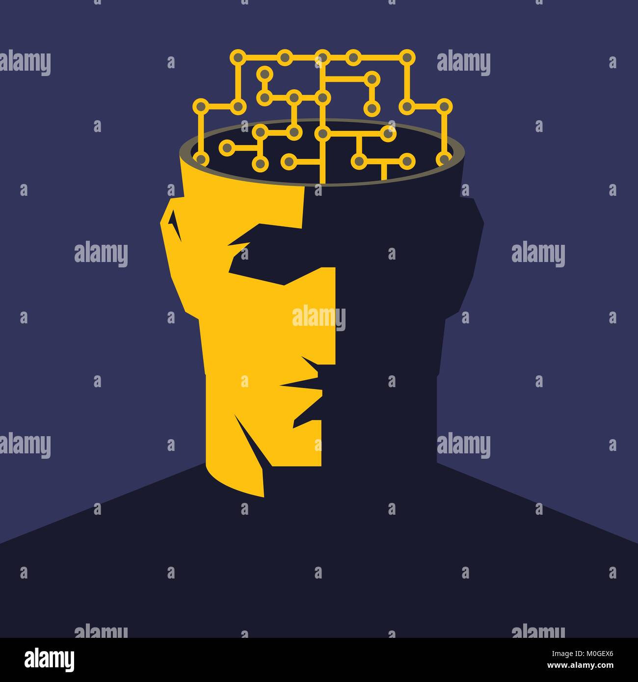Male open head with cyberbrain inside. Artificial intelligence concept illustration. - Stock Image