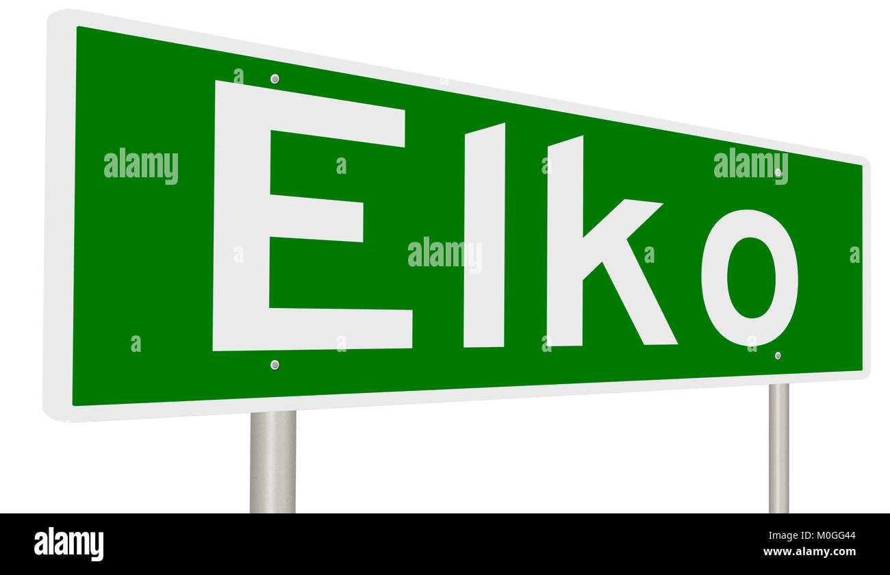 A 3d rendering of a green highway sign - Stock Image