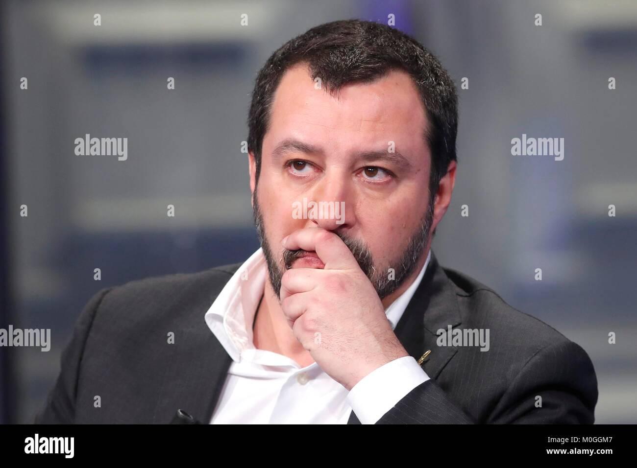 Italy, Rome, 19 January, 2018 : The leader of  Movement Lega Nord, Matteo Salvini at the talk show 'Porta a - Stock Image