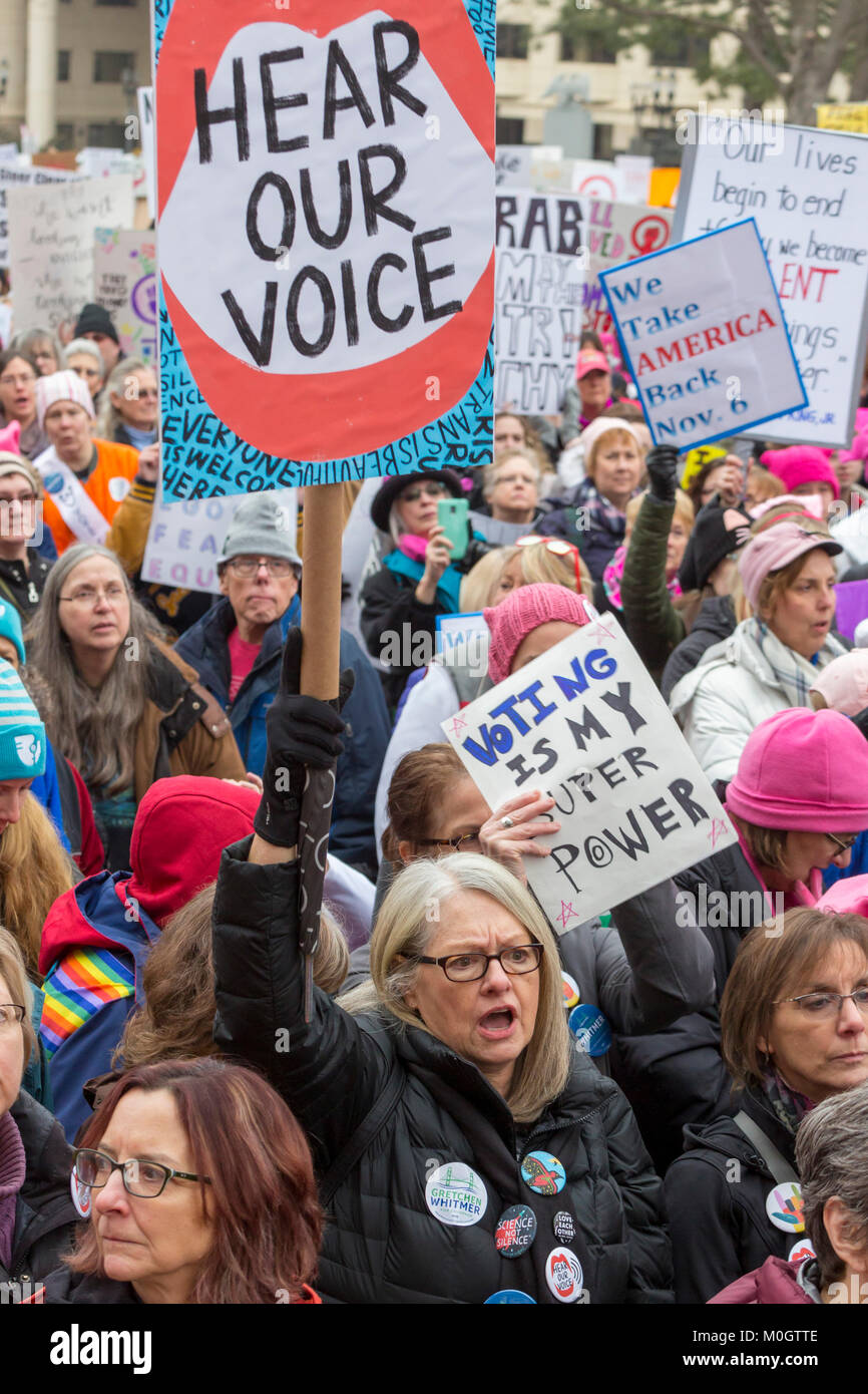 Lansing, Michigan USA - 21 January 2018 - On the first anniversary of the Women's March in Washington which - Stock Image