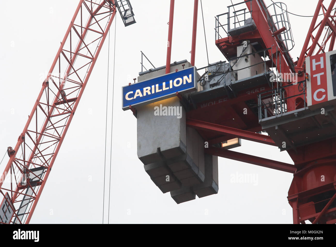 London, UK. 22nd Jan, 2018. The second largest construction company Carillon based in Wolverhampton which employed - Stock Image