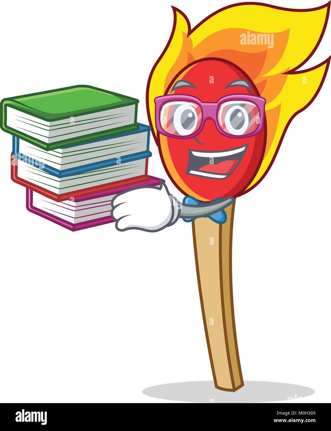 Student with book match stick mascot cartoon - Stock Image