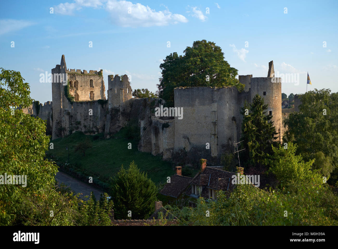 The castle ruins of Angles sur l'Anglin in Vienne France - One of the most beautiful villages in France. - Stock Image