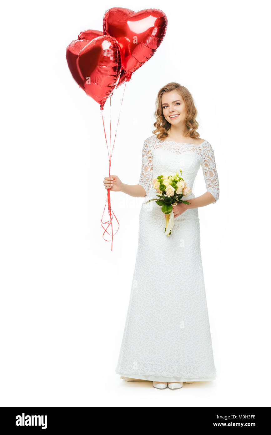 Beautiful Bride In Wedding Dress With Heart Shaped Balloons And