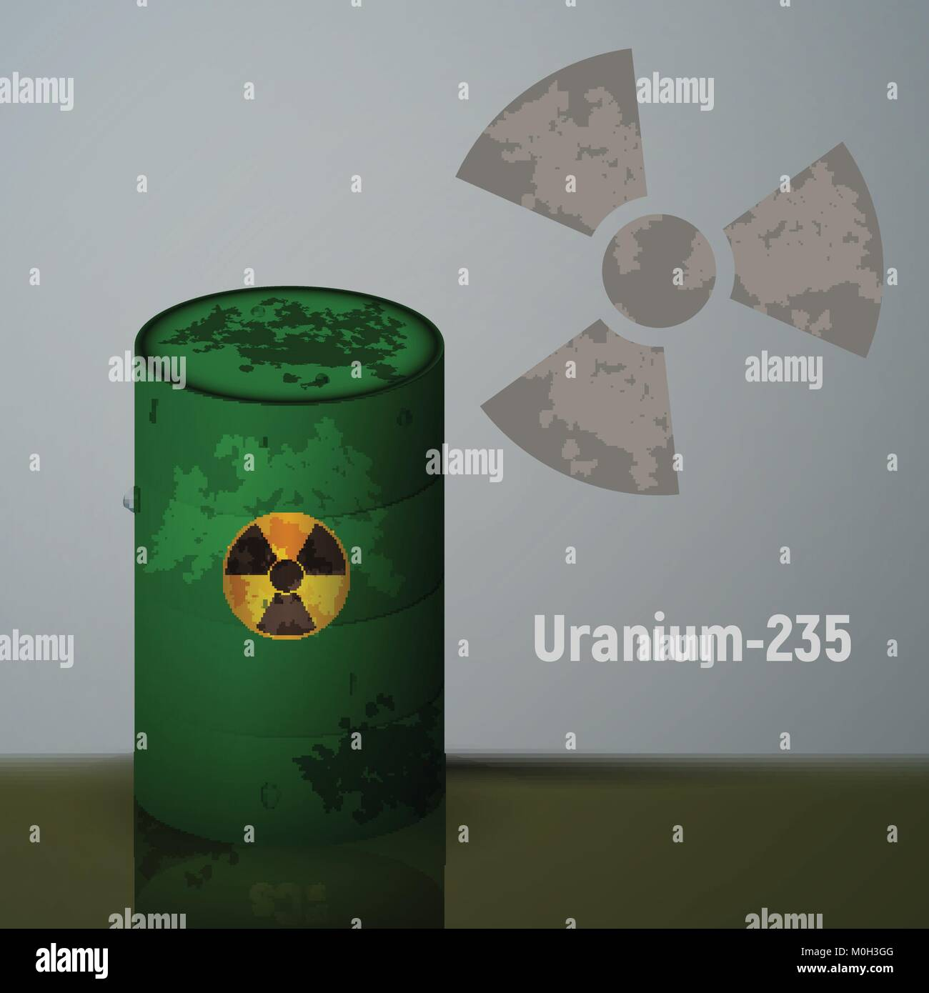 Radioactive uranium in the barrels. - Stock Image