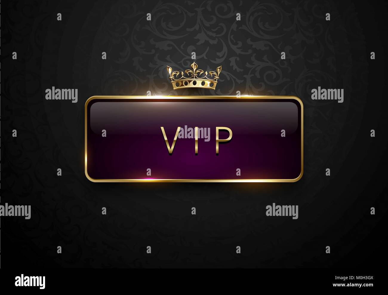 Vip Royal Purple Label With Golden Frame And Crown On Black Floral Pattern Background Dark Premium Template Vector Illustration