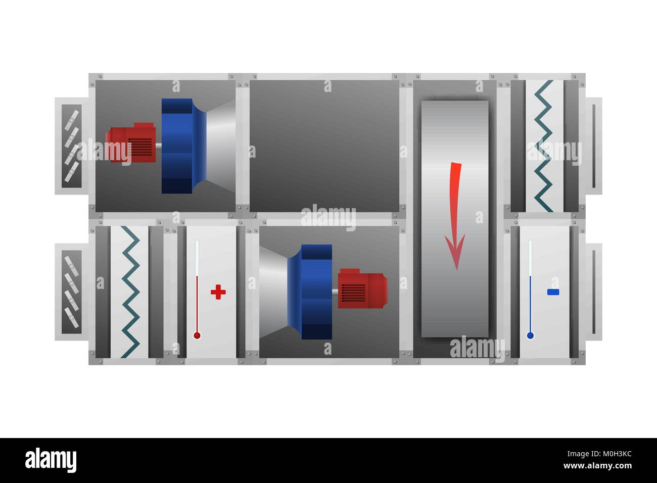 Air handling unit with Thermal Wheel. - Stock Vector