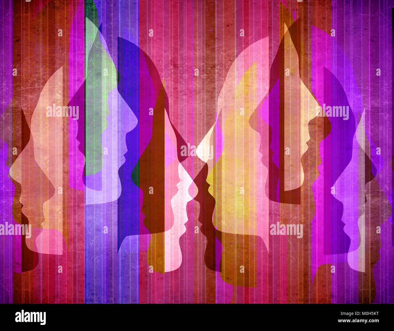 colored abstact background with human Silhouette Profiles - Stock Image