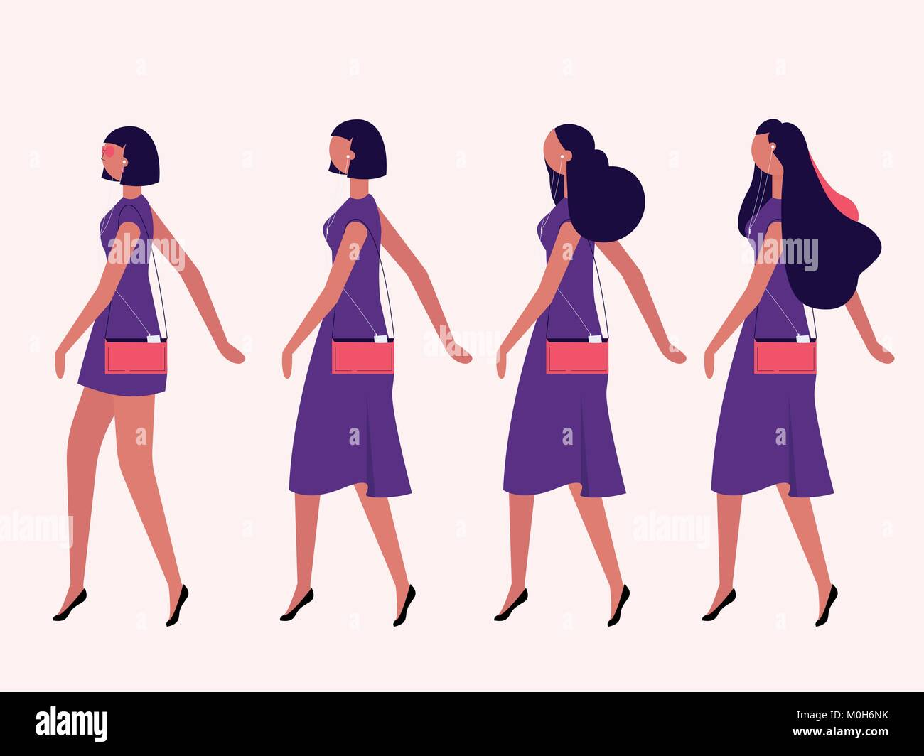 ladies walking flat Stock Vector Image