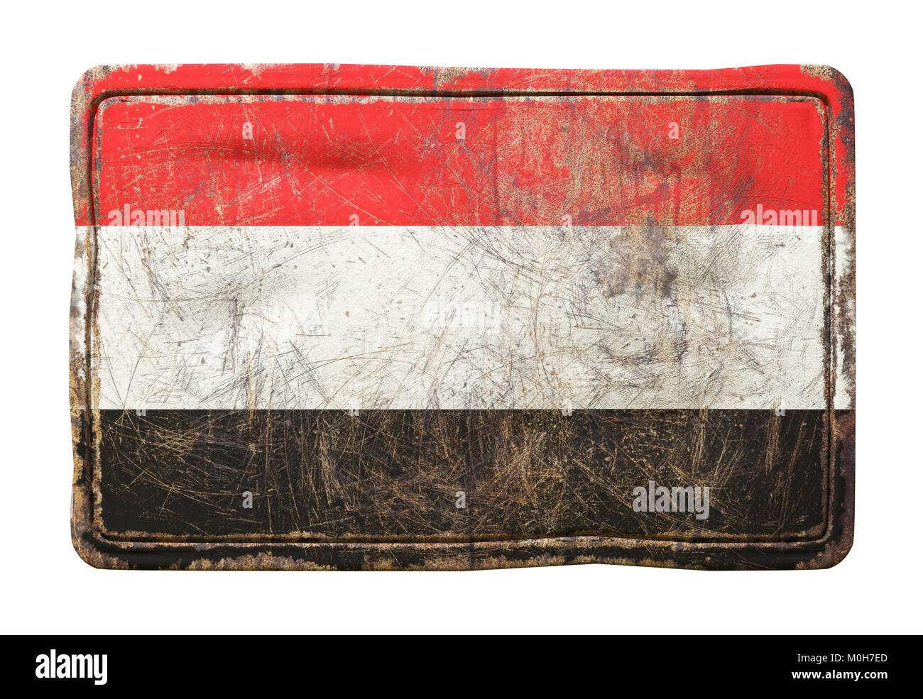 3d rendering of a Yemen flag over a rusty metallic plate. Isolated on white background. - Stock Image