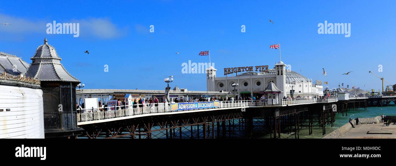 The seaside promenade, Brighton City, Brighton & Hove, Sussex, England, UK - Stock Image