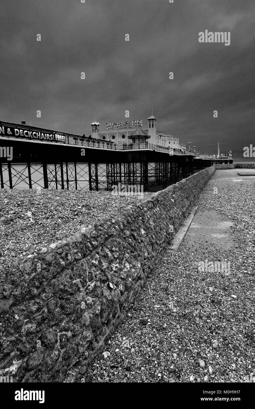 Dramatic skies over the Brighton Palace Pier, Brighton & Hove, East Sussex, England, UK Stock Photo