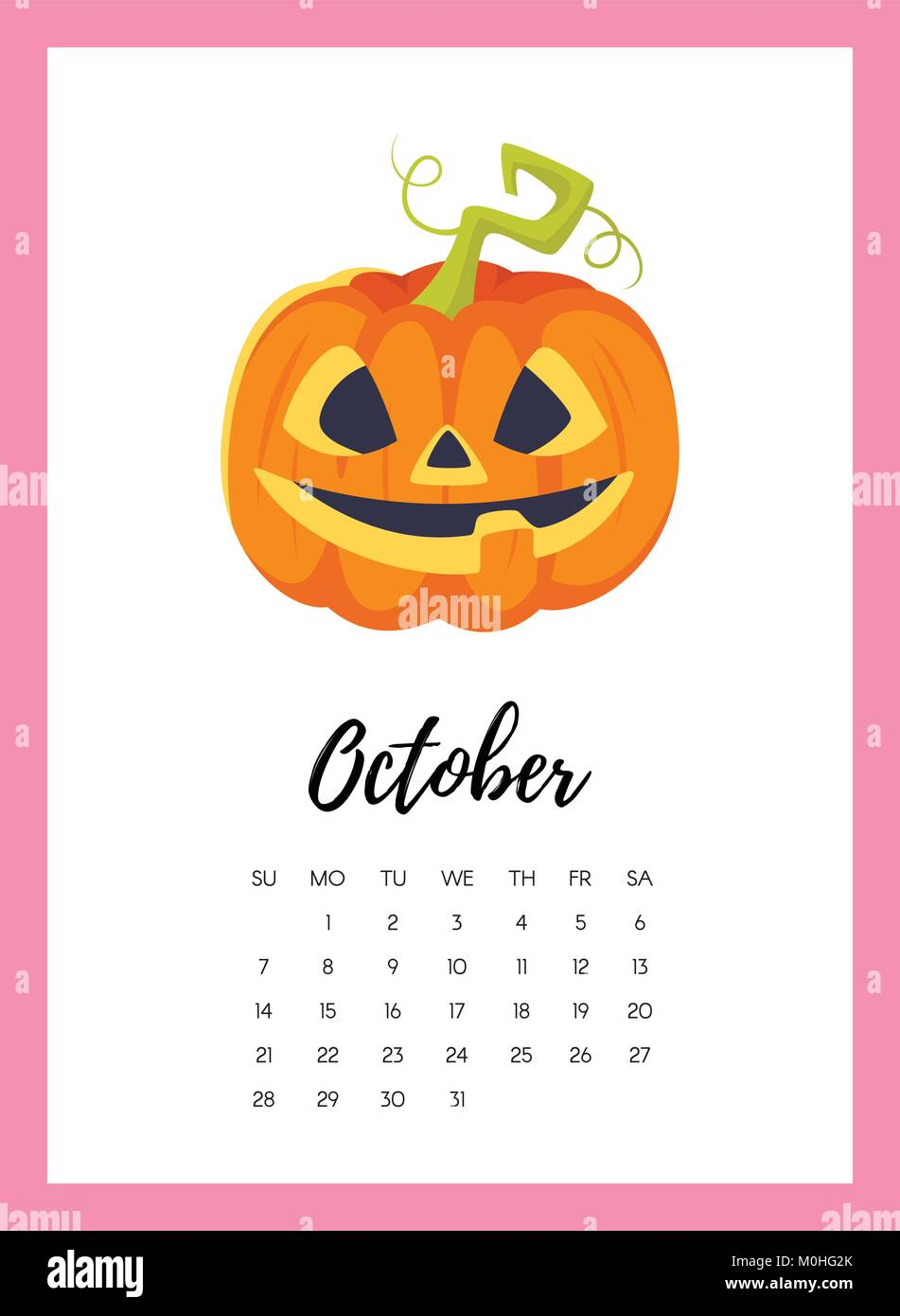 October 2018 year calendar page - Stock Vector