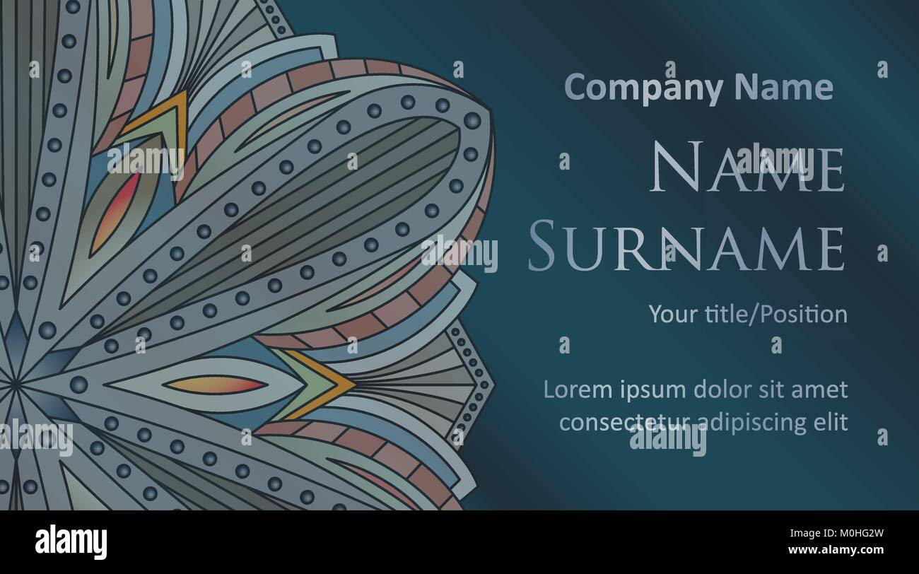 Visiting card banner ornate floral template with space for text on visiting card banner ornate floral template with space for text on a dark blue background in dark colors reheart Image collections