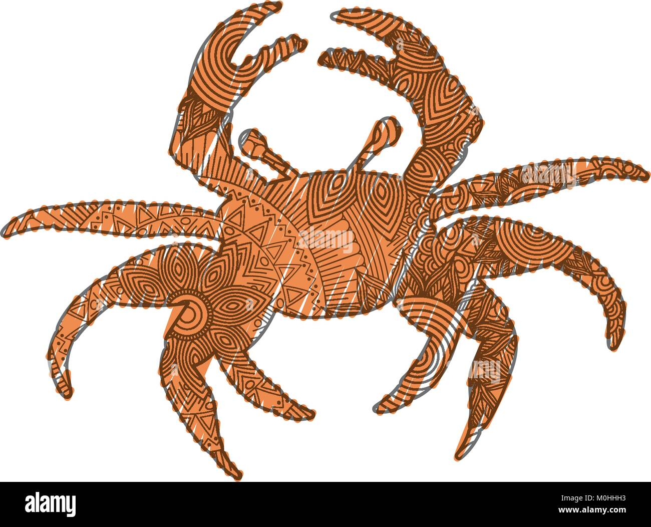 Hand Drawn For Adult Coloring Pages With Crab Zentangle Stock Vector Image Art Alamy