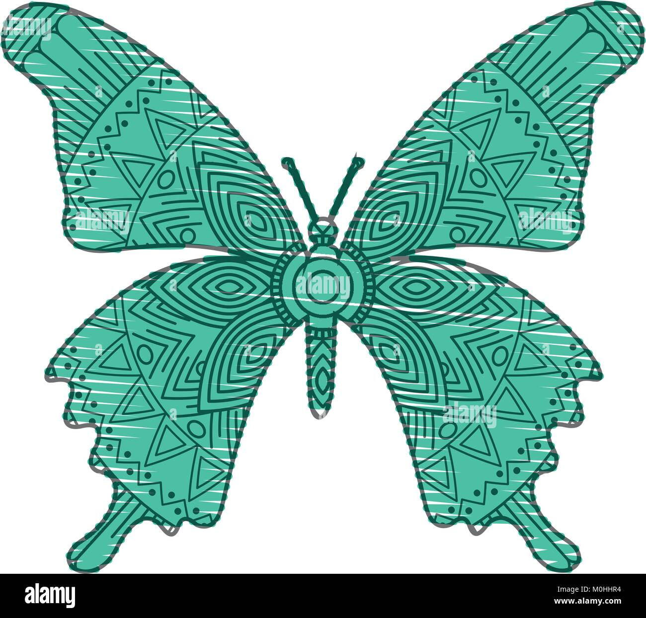 Hand Drawn For Adult Coloring Pages With Butterfly Zentangle