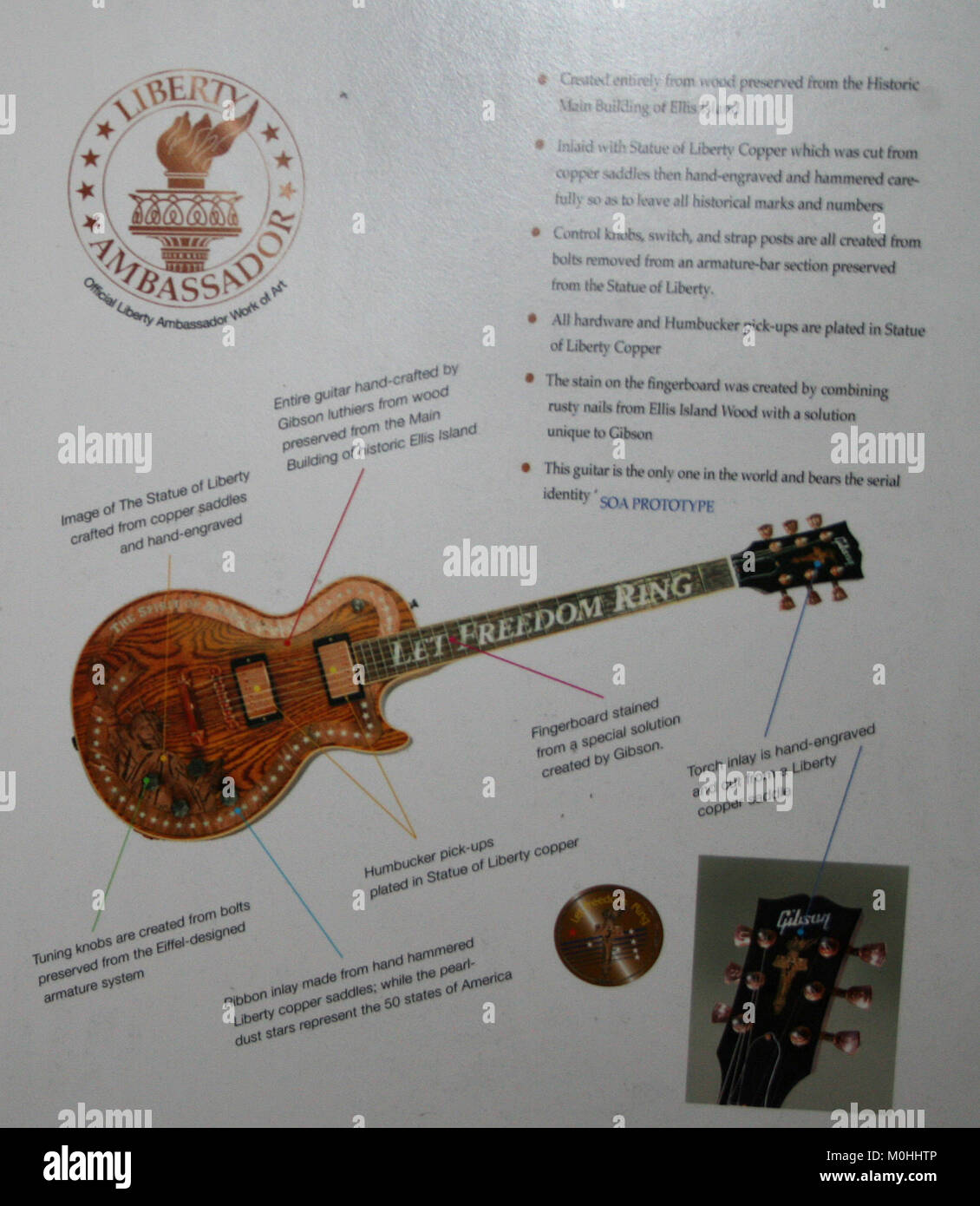 The Spirit Of America Gibson Les Paul Guitar Displayed In A Diagram Electric Strings At Ellis Island Upper New York Bay City State Usa
