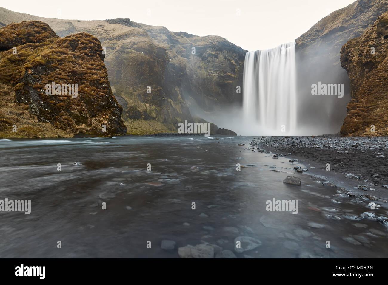 Icelandic landscape of waterfall - Stock Image