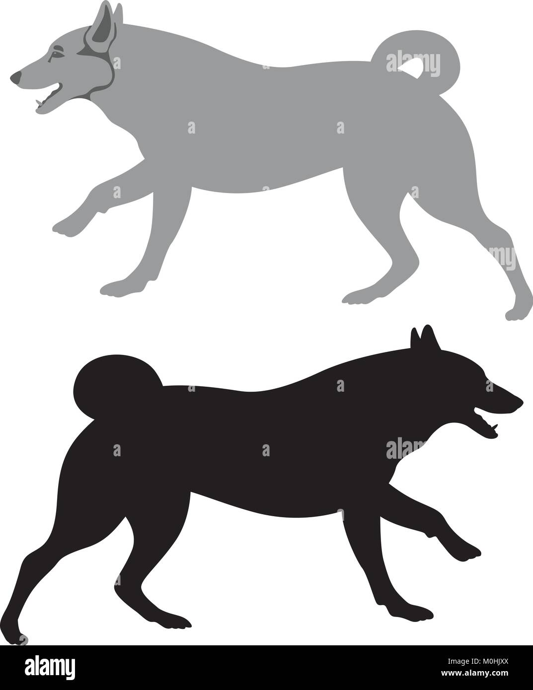 dog vector illustration flat style black silhouette set - Stock Vector