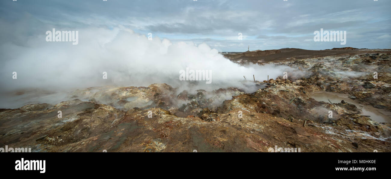 Hot geothermal geyser in Iceland - Stock Image