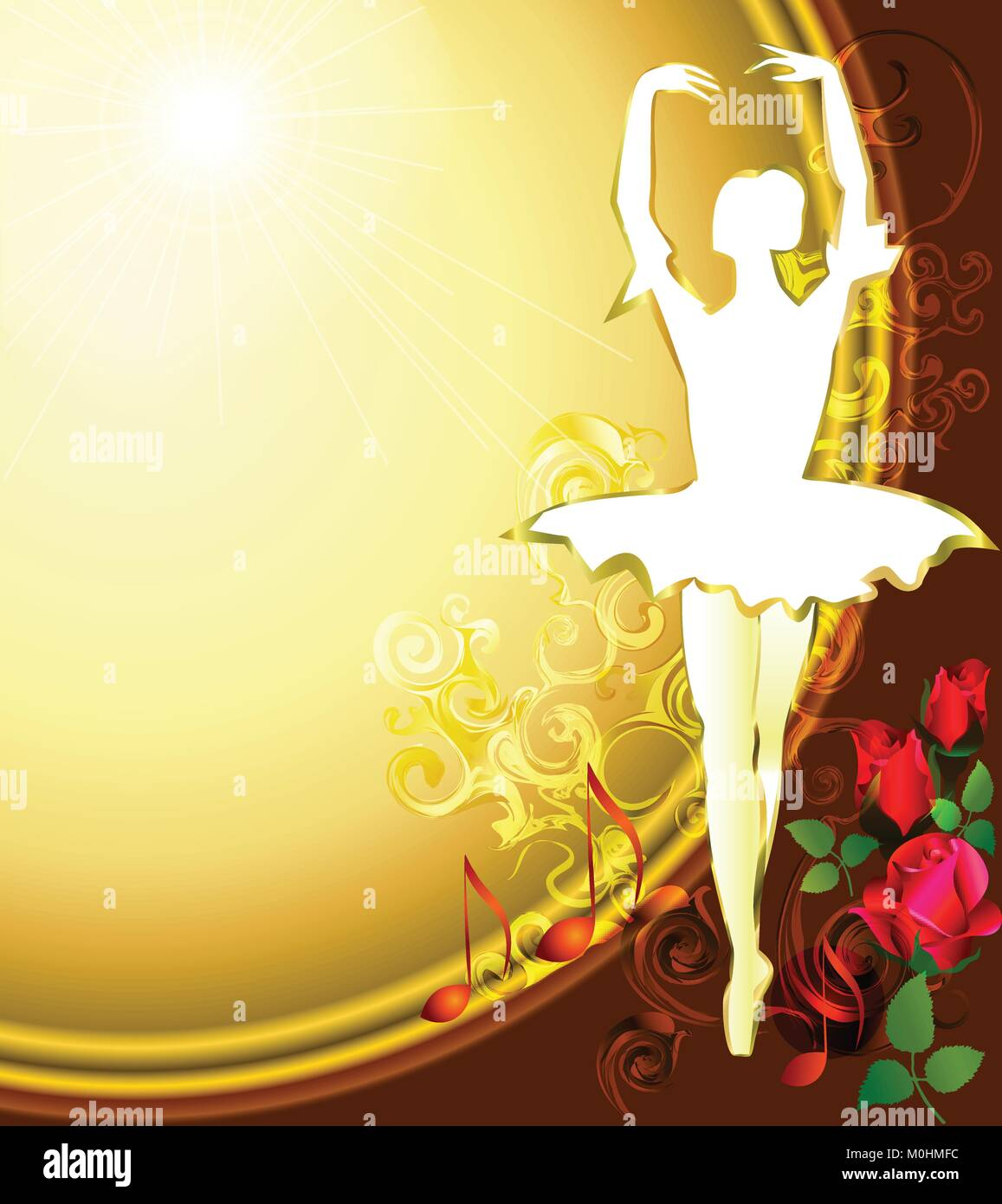 Ballet dancer with purple roses and sun background - Stock Vector