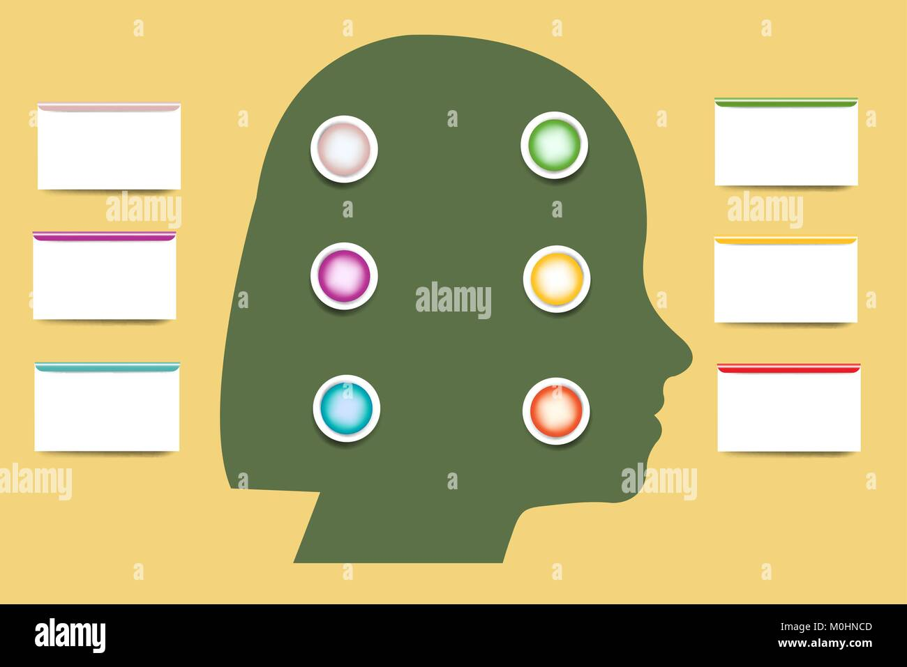 The woman\'s head silhouette containing blank color buttons ...