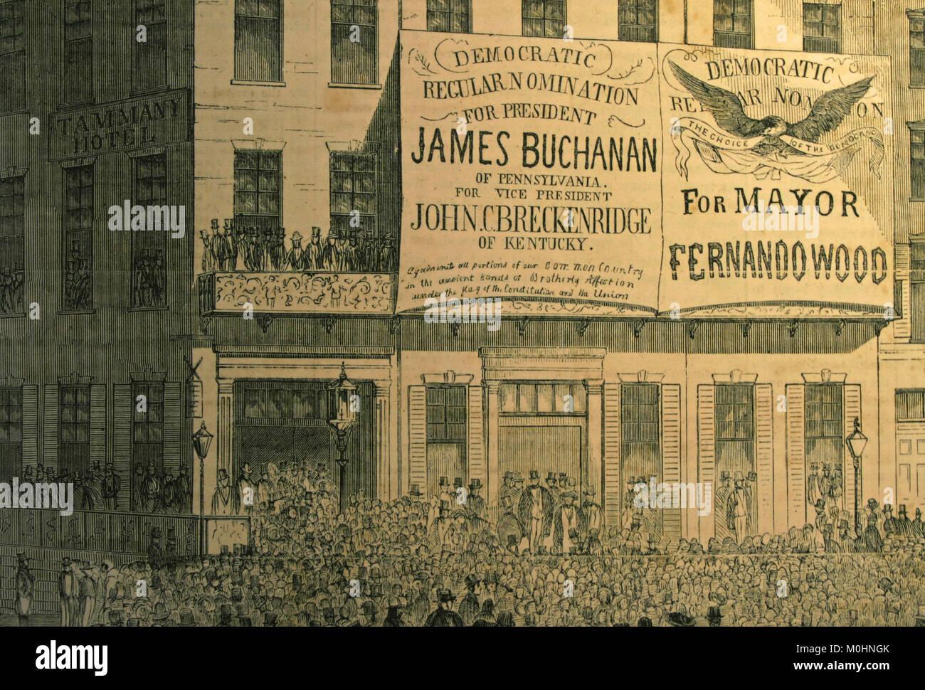 Drawn picture Democratic Regular Nominations for Mayors Fernando Wood, James Buchanan and John C. Breckenridge in - Stock Image