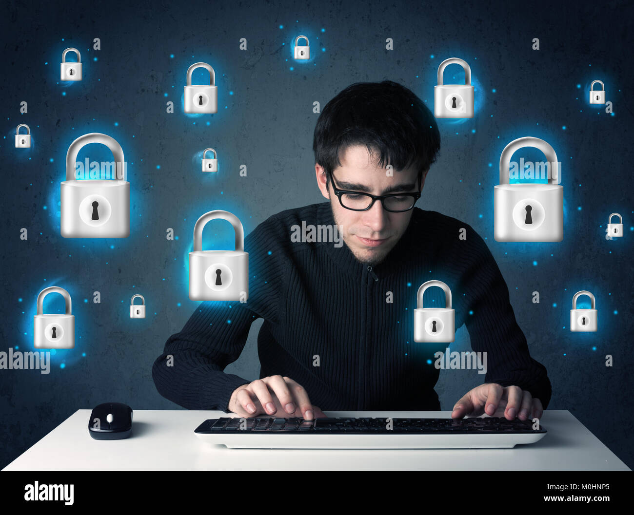 Young hacker with virtual lock symbols and icons on blue background Stock Photo