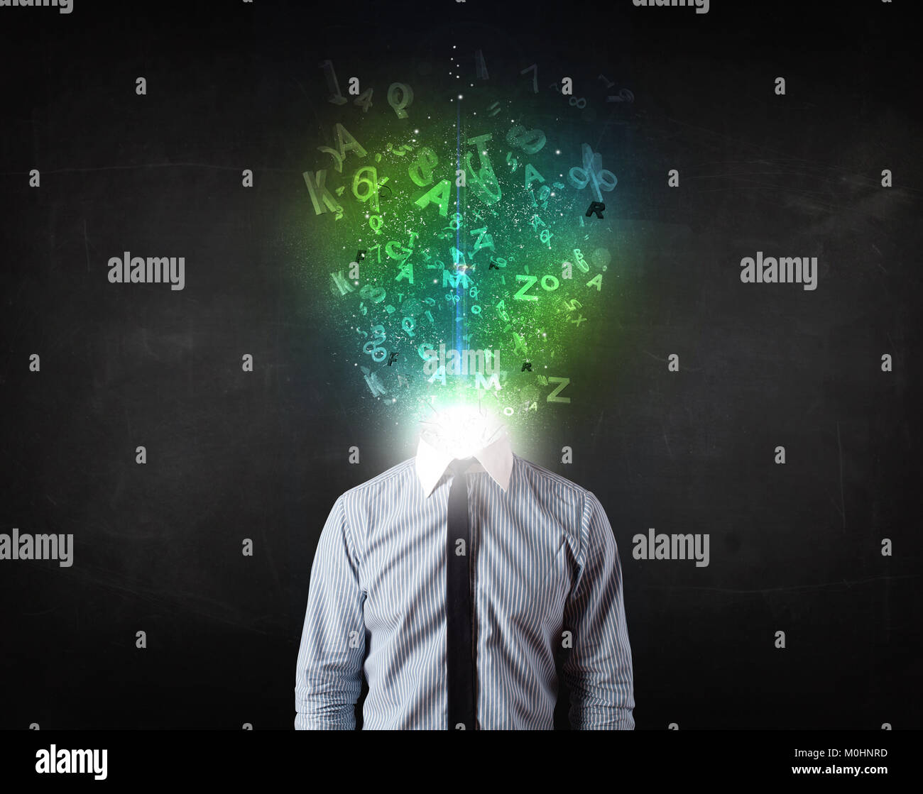 Business man with abstract glowing letters on head concept - Stock Image