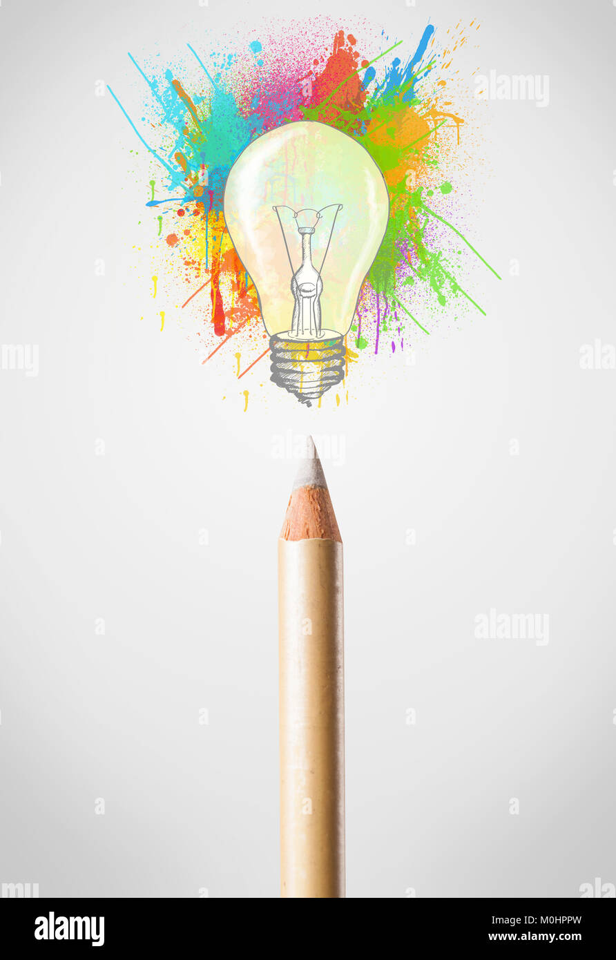 Colored Pencil Close Up With Colored Paint Splashes And Lightbulb Stock Photo Alamy