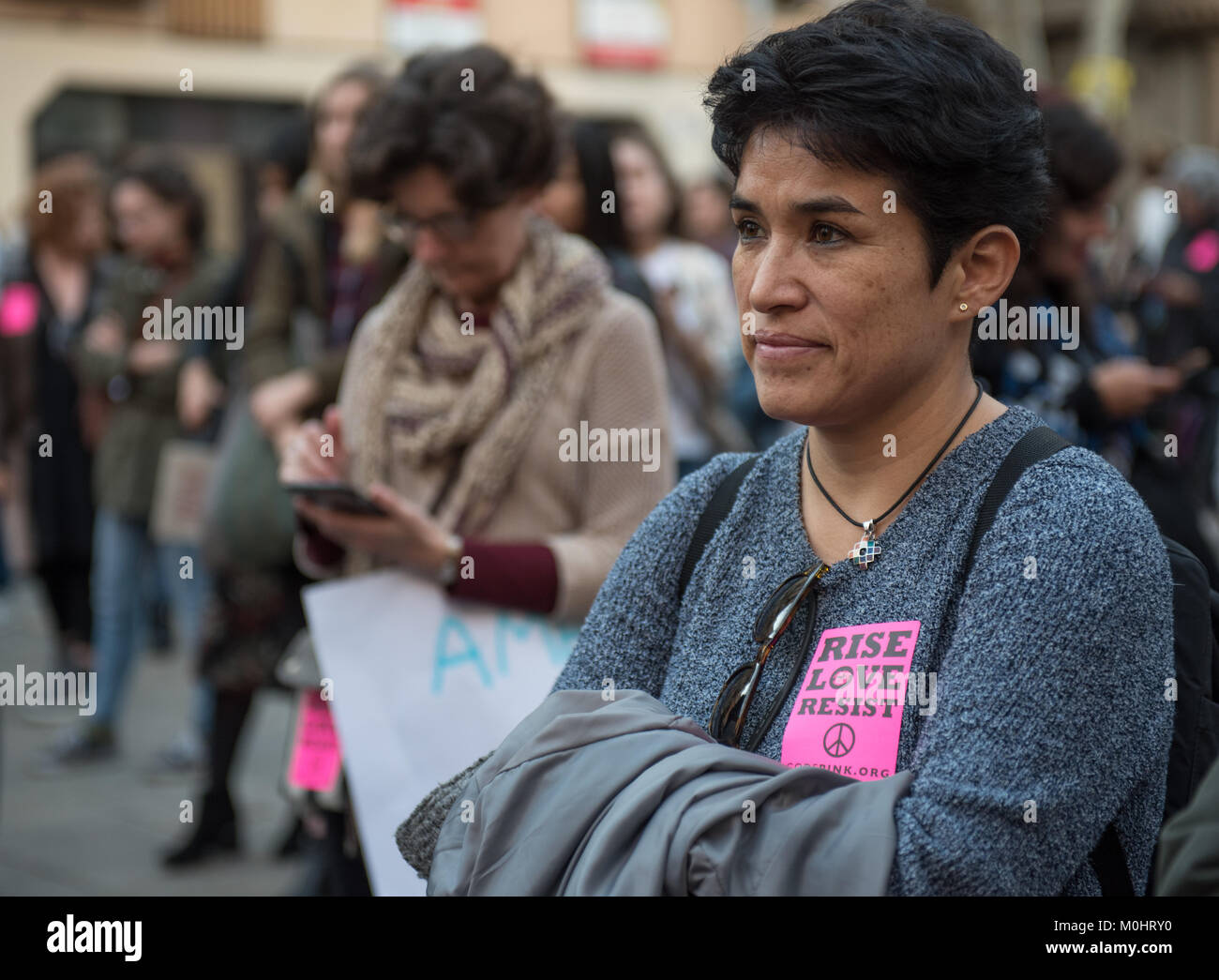Women´s March in Barcelona, womens march BCN, Rise Love, resist peace, pink sticker, codepink - Stock Image