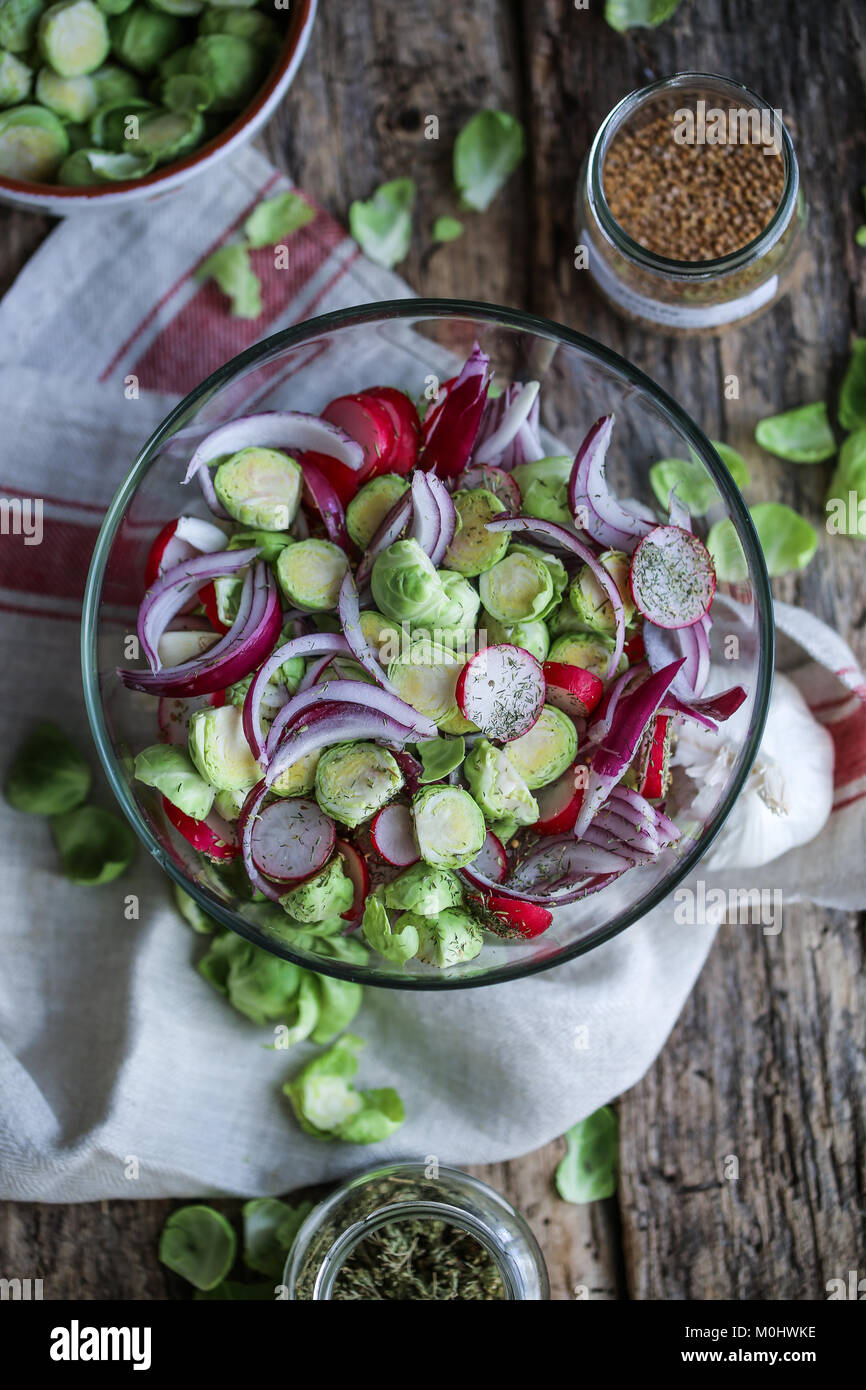 Veggies ready for fermentation process - Stock Image