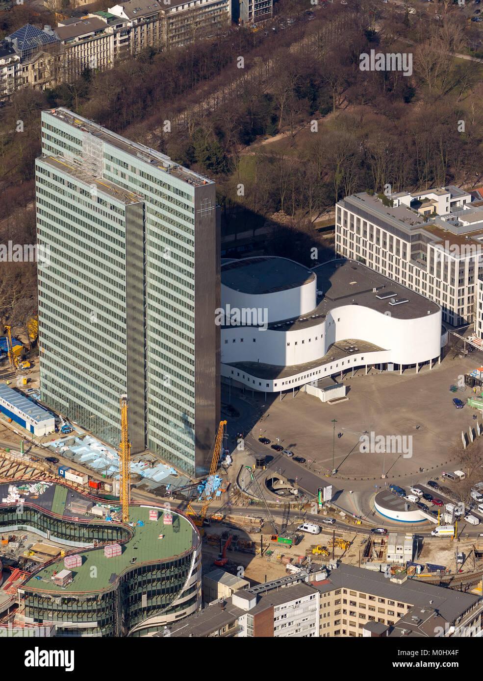 Luftbild, Dreischeibenhaus,  Düsseldorf, Rheinland, Nordrhein-Westfalen, Deutschland, Europa, Düsseldorf, - Stock Image