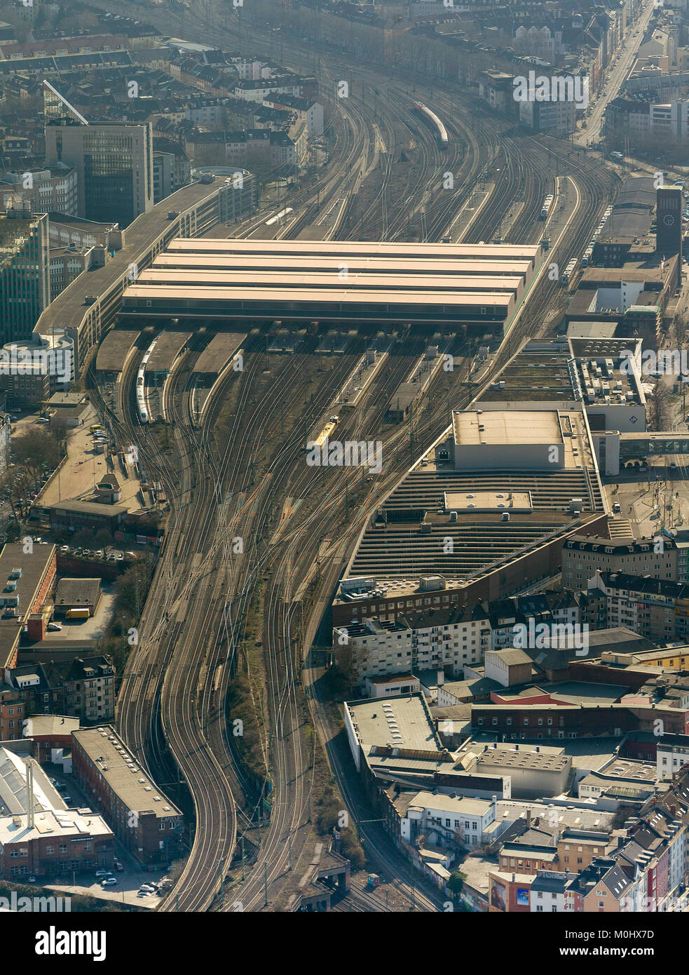 Aerial view, looking at the freight station and railway station from the east, railway track, Dusseldorf, Rhineland, - Stock Image