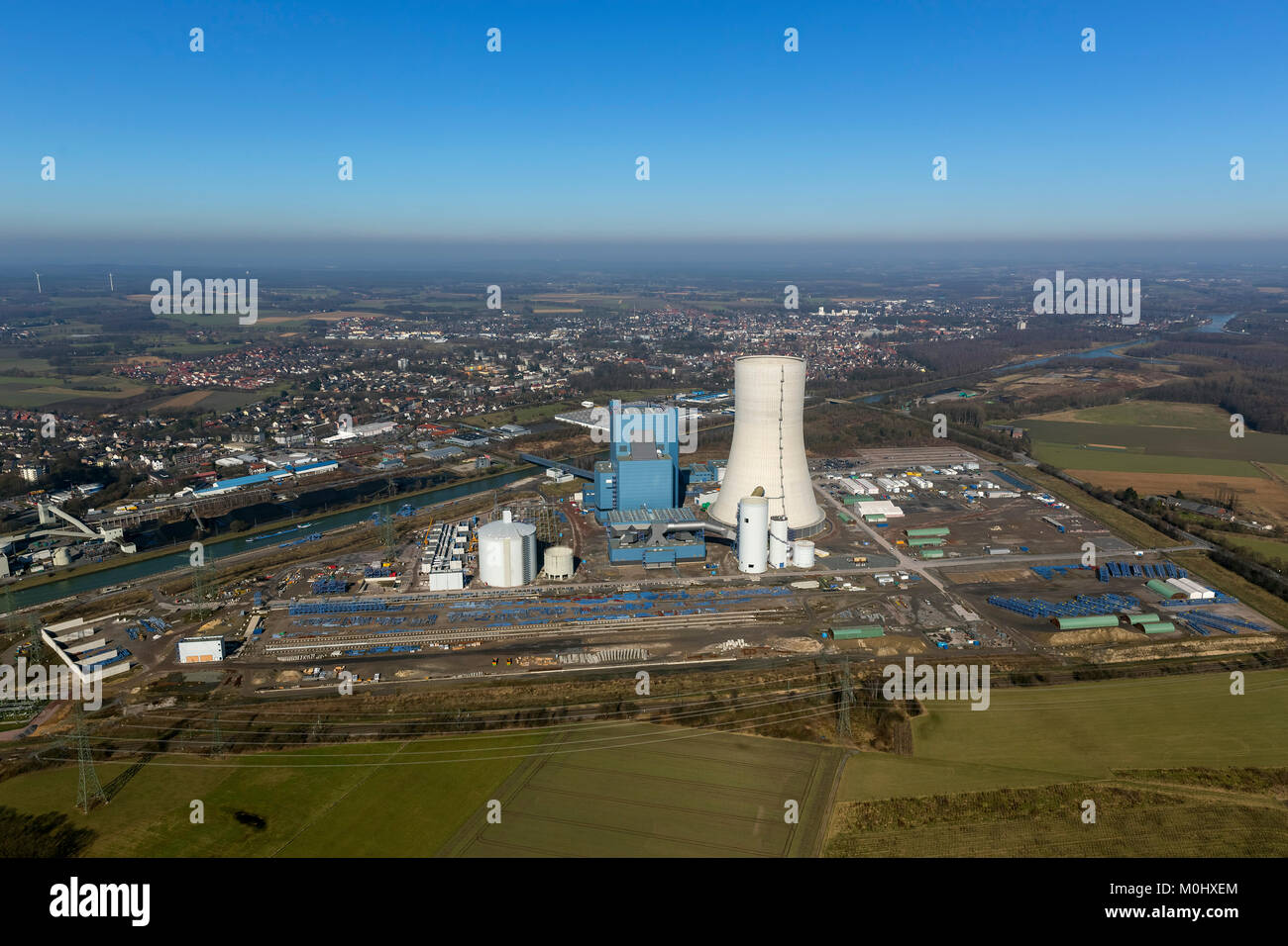 Aerial view, construction freeze, E.on,, EON Datteln 4, coal power station on the Dortmund-Ems Canal, construction - Stock Image