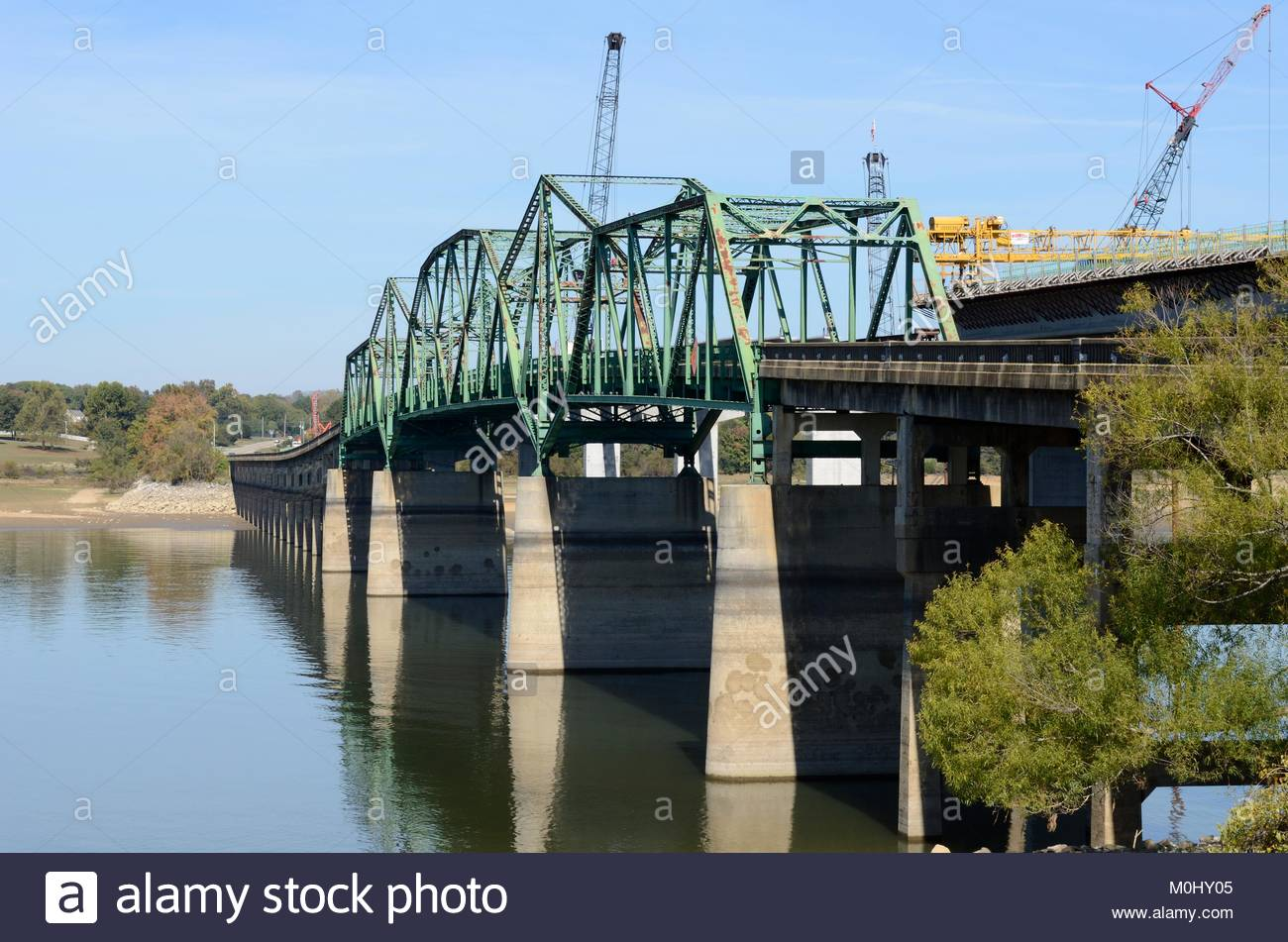 Bridge replacement project. Tennessee Department of Transportation replacing J.M. Walters Bridge over French Broad - Stock Image