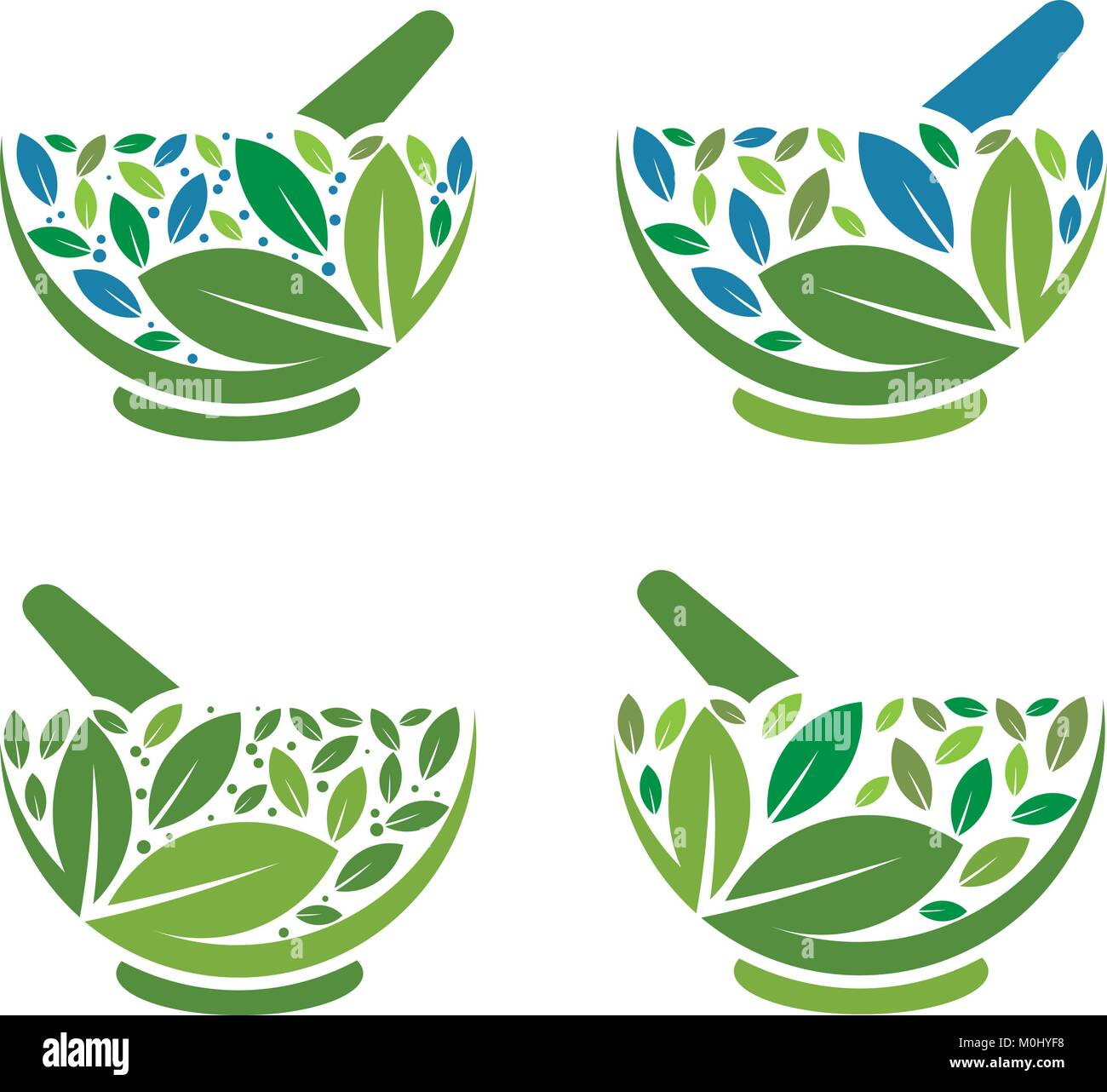 Illustration concept of green leaf as a mortar and pestle white background. - Stock Vector