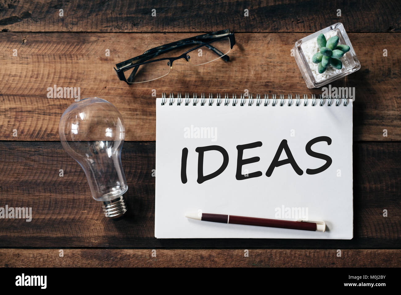 bulb, glasses, cactus, and notebook with IDEAS word. ideas concept Stock Photo