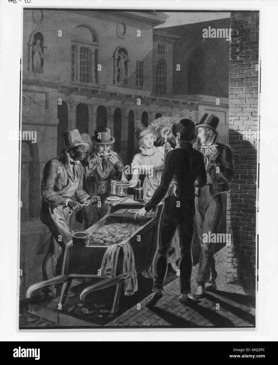 Nightlife in Philadelphia—an Oyster Barrow in front of the Chestnut Street Theater MET 128527 - Stock Image