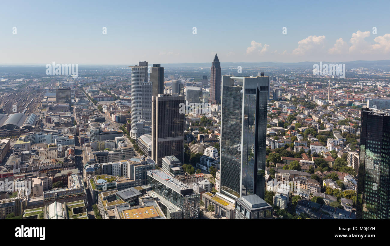 Frankfurt am Main, panorama view of the skyline from above in summer sunshine, Frankfurt, Germany - Stock Image